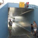 The pedestrian tunnel under the railroad tracks