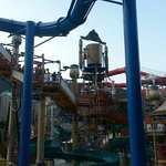 huge maze of water equipment and slides