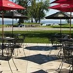 Outdoor patio overlooking the harbor and Lake Winnebago