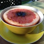 pink grapefruit with a spot of brown sugar