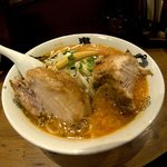 Delicious spicy ramen with pork shoulder.