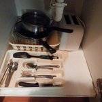 Utensils in bottom cabinet