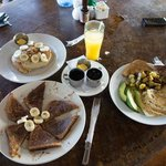 Heavenly breakfast and fresh pineapple juice next door