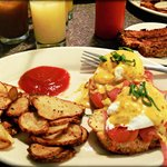 Eggs Benedict with Home Fries, Tempeh Bacon & Homemade Ketchup