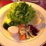 Salad starter from set dinner menu