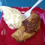 Fried pecan pie and ice cream