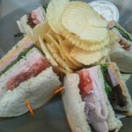 Triple Decker Club Sandwich served with Chips and Bacon Ranch Dip
