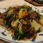 Beef and vegetables with chow-fun noodles