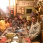 Dinner with the Family...Sorry for the Fuzzy Picture, but you get the point of the Eclectic deco