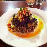 Asian marinated flank steak on rice with woked veg