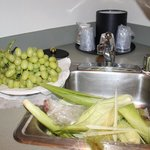 washed grapes & corned in kitchen