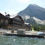 View of Many Glacier Lodge from Swift Current Lake on Boat Ride