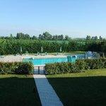 Blick über den Pool in die Weingärten