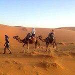 trekking out to the desert-us being the lazy ones on camels