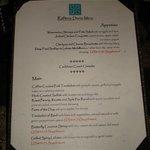 Typical evening menu