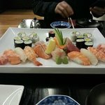 Sushi and sashimi platter for two
