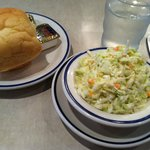 Roll & cole slaw came out before main course plate.