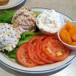 Cold salad plate with chicken, tuna, cottage cheese & melon (other options were egg or ham salad