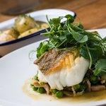 Loin of Cod, peas lettuce & bacon