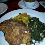 Skillet fried chicken, pintos w/ chow chow, butternut squash succotash and kale w/ black eyed pe