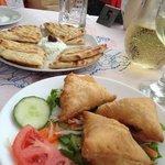 Starters: Mini cheese pies, pitta and tzatziki