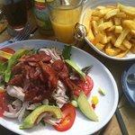 chicken, avocado and bacon salad.