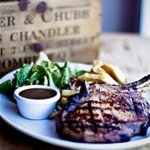 Steak & chips with a choice of sauces, mustard and relishes.