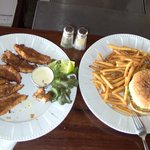 Lionfish fingers and chicken burger.