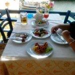 Starters...Fried Calamari, stuffed vine leaves, stuffed Zucchini flowers and baked feta......del