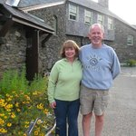 Mike and I in front of lodge