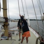 Me hoisting the sails for our trip around Newport Bay