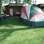 Spring: Tent site with kitchen cabana.