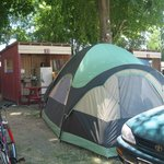 Summer: Tent site with kitchen cabana.