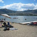 Private beach and swim area in summer.