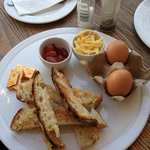 Boiled eggs and bread soldiers