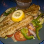 Grilled tilapia with green salad