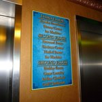 Sign at elevator.