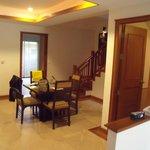 Villa Dining area/reception & through to kitchen