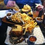 pulled pork sandwich, BLT and cheesy steak fries