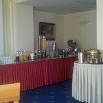 The breakfast buffet with Greek coffee amenities
