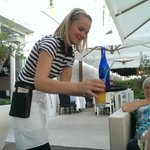 Serving drinks on the patio