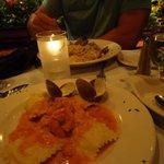 lobster ravioli and clam linguini