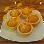 Fresh quaint complimentary oranges for dessert p