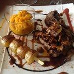 Steak - saignant - nice sweet potato mash as well