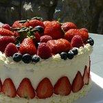 Fabulous  cake; moist sponge, chantilly cream and fresh fruit.