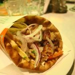souvlaki on pita (kebab)  2.5 euros! yummy! in Milina