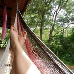 Relaxing in the hammock with jungle views