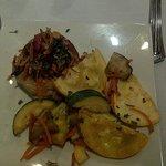 crab cakes with veggies