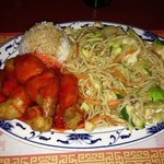 chicken chow mein with s&s chicken and steamed rice.