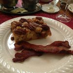Baked pecan french toast with country bacon.